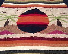 "Mexican Hand Woven Rug Blanket Tapestry Chenille 47"" X 80"" Sun Beach Scene"