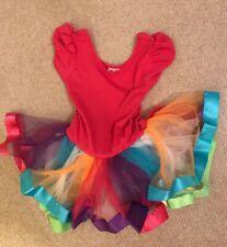 Wenchoice girls pink rainbow tutu ballet dress M (age 3-4 approx)