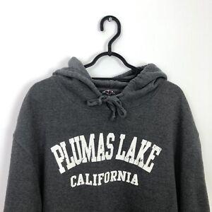 Vintage California American State Spell Out Oversized Hoodie Sweatshirt Grey XL