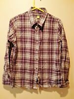 Cabela's women's plaid long sleeve button front flannel shirt size medium