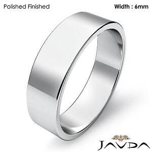 Platinum Plain Flat Pipe Cut Wedding Band Men Solid High Polished Ring 6mm 10g