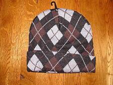 Argyle Pattern Knit Black Brown Grey Watch Cap Beanie Winter Cuff Stocking