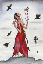 ACEO PRINT OF PAINTING MODERN ART RYTA RAVEN CROW GOTHIC SURREALISM WICCA LIFE