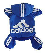Adidog Pet Clothes S Dog Puppy Hoodie Coat Sweatshirt Warm Sweater Jumpsuit Blue