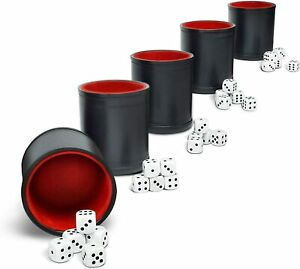 Professional Dice Shaker Cup - 5x Felt-Lined PU Leather Black Cups & 25 Dice NEW