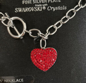"""Heart Necklace Red  Swarovski Crystals Fine Silver-plate 16.5"""""""