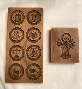Vintage Hand Carved Wooden Springerle Cookie Mold Stamp 8 Designs