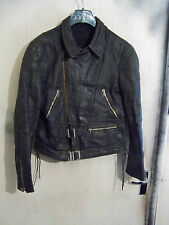 VINTAGE 50'S GERMAN LEATHER PERFECTO MOTORCYCLE JACKET SIZE M RIES ZIPS