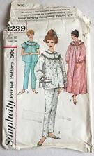 Vintage 1960s Simplicity 3239 Sewing Pattern Woman's Pajamas & Nightgown 32 Bust