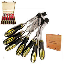 7PC PRO WOOD CHISEL SET IN WOODEN CASE CRV PROFESSIONAL CARPENTERS TOOL SET HAND