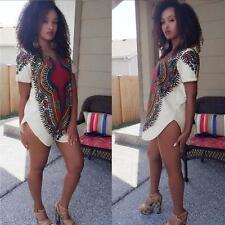 UK Women Traditional Tribal African Dashiki Party Hippie Blouse Mini Shirt Dress