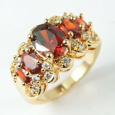 Women's Gold plated Red crystal Ring UK Size N