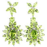 Sterling Silver 925 Genuine Natural Apple Green Peridot Cluster Earrings