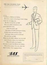 "1962 SAS Scandinavian Airlines ""The Executive SAS Coloring Page"" PRINT AD"