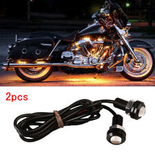 1 Pair Small Amber LED Black DOME Motorcycle-Chopper-Bobber Turn Signal Lights