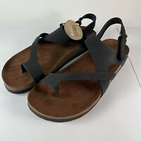 WHITE MOUNTAIN Footbeds Leather Womans Sandal 10 Black Huntsville NWT NIB Shoe