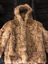 Vintage 1980's Real Coyote Hooded Fur Coat Long Jacket Size XS Beautiful Pelt