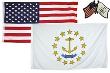 Wholesale Combo USA & Rhode Island State 2x3 2'x3' Flag & Friendship Lapel Pin