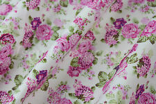 FLORAL Fabric~By the M~Ivory with Pink Roses~Dress~Crafts~100% Cotton~Beautiful!