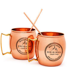 MOSCOW MULE COPPER MUGS Set of 2 100% HANDCRAFTED Food Safe Pure Solid Copper