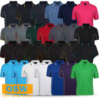 MENS CASUAL SHORT SLEEVE COOL DRY WORK OFFICE TRADIES PIPING STYLE POLO SHIRT