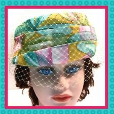 1960's Vintage    Multi-Colored Satin Veiled   Pill Box Hat   Excellent!