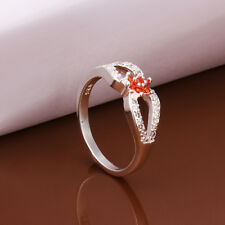 925 Sterling Silver Plated Fashion Ring 3 Round Cross Size 8