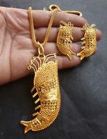 22K Gold Plated Indian 16'' Long Chain Pendant Earrings Bridal Set DIWALI SALE,b