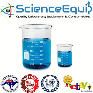Glass BEAKER Graduated Low Form Research Grade Beakers 6 - sizes - 1/5/10 pcs