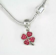 Gift Lucky chain Irish Present Pink Four Leaf Clover Necklace Four Leaf Clover