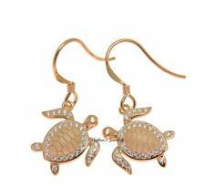 ROSE GOLD ON SOLID 925 STERLING SILVER HAWAIIAN SEA TURTLE HONU HOOK EARRINGS CZ