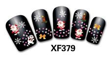 Nail art Stickers bijoux d'ongles: Pères Noel - flocons - bougies - noeuds