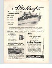 1954 PAPER AD Steelcraft Cruiser Scottie Craft 18' Motorboat Boat