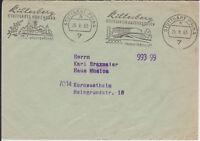 Postsache-Brief Postscheckamt Stuttgart 1963, zwei versch. Werbungen Killesberg