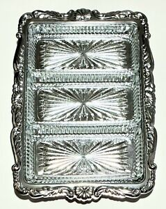 Vintage Silver-plated Rectangle Relish Tray  3 Glass Inserts Holidays
