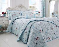 Duvet Cover Set/ Bedspread/ Cushions Little Birds Duck Egg Cotton Rich