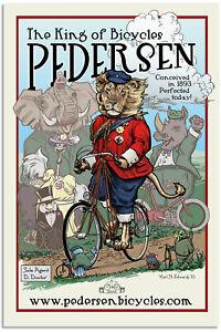 Vintage Advertising Art Poster - Pedersen King Of Bicycles