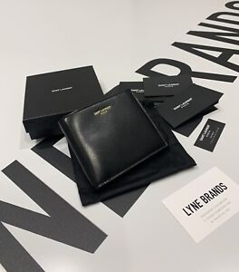 Saint Laurent East / West Coin Purse Black Smooth Leather Wallet - RRP £330