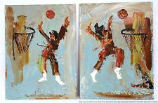 Morris Katz Basketball Impasto Lot Of 2 Oil Paintings
