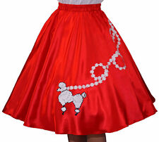 "Red SATIN Poodle Skirt _ Adult Size XL-3XL _ Waist 40""- 48"" _ Length 25"""