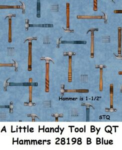 A Little Handy Tool cotton Quilt fabric by QT Hammers & Nails 28198 W Blue