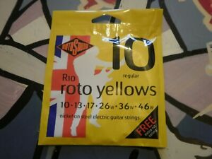1 set R10 Rotosound Yellow 10-46 electric guitar strings IN NEW AIRTIGHT PACK