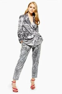 Topshop Grey/Silver Crushed Velvet Look Trouser Suit Size 10 Brand New With Tags
