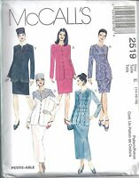 McCalls Sewing Pattern # 2519 Misses Lined Jacket Skirt and Hat Size 14-16-18