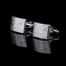 Men's Shirt Suit Laser Silver Rectangle Cufflinks For Wedding Party  Business
