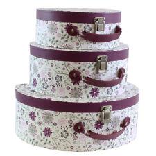 JVL Set of 3 Purple Floral Suitcase Style Storage Boxes