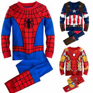 2tlg Jungen Mädchen Schlafanzug Nachtwäsche Kinder T-shirt Top+Hosen Pyjama Sets