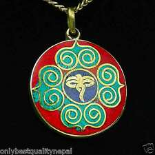 "buntes Amulett farbenfroh Anhänger runder ""Auge des Buddha"" Anhänger a84"