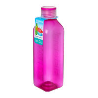 Sistema Hydrate 1L Square Drink Bottle, Pink Water Juice Work Travel School
