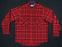 NWOT Vintage 90s Sears Roebuck Buffalo Plaid Wool Red Flannel Long Sleeve Shirt